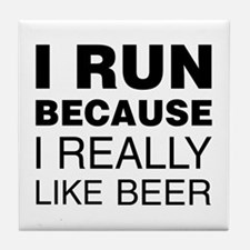 I Run For Beer Tile Coaster