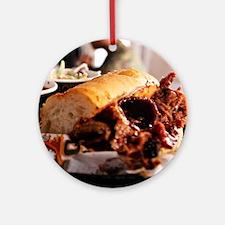 BBQ Beef Brisket Sandwich Ornament (Round)
