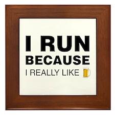 I Run For Beer Framed Tile