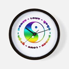 Peace Love Yoga Wall Clock