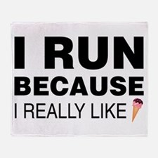 I Run Because I Like Ice Cream Throw Blanket