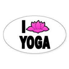 I Love Yoga Oval Decal