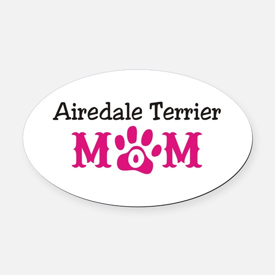 Airedale Terrier Mom Oval Car Magnet