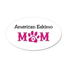 American Eskimo Mom Oval Car Magnet