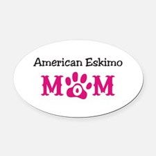 American Eskimo Mom Oval Car Magnet