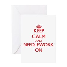 Keep Calm and Needlework ON Greeting Cards