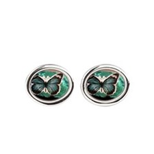 Cute Teal Oval Cufflinks