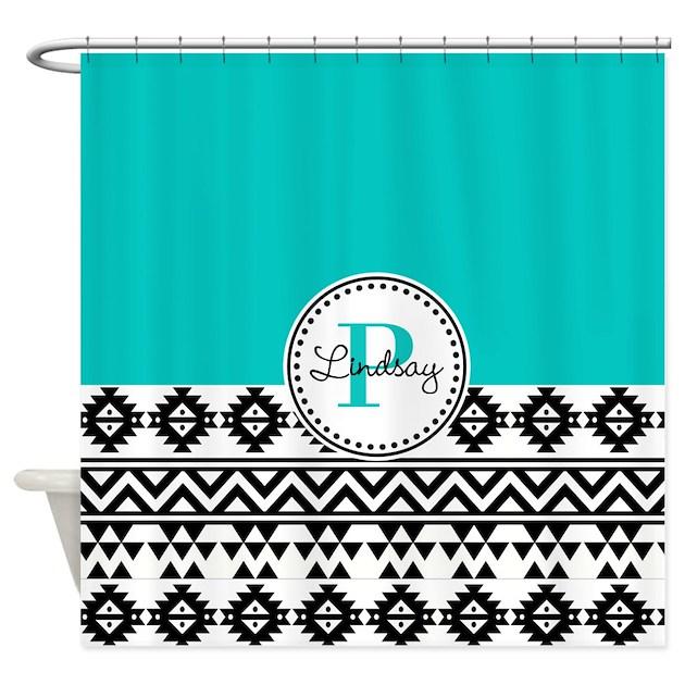 Black Teal Tribal Shower Curtain By Malibumonograms