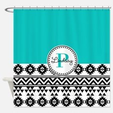 Black & Teal Tribal Shower Curtain