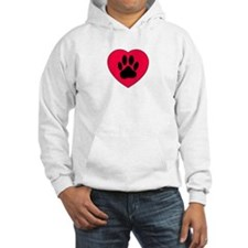 Red Heart With Dog Paw Print Hoodie