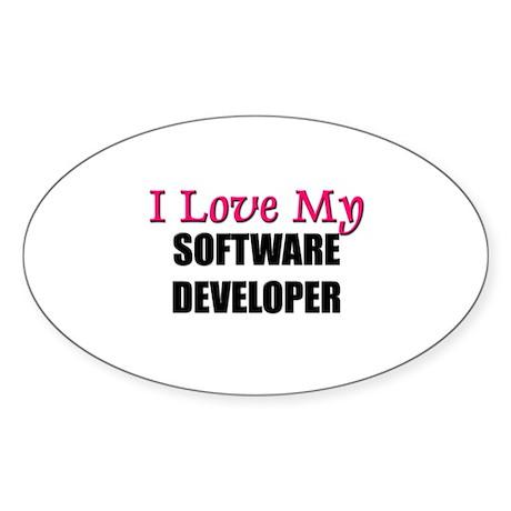 I Love My SOFTWARE DEVELOPER Oval Sticker