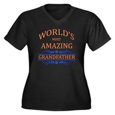 Grandfather Women's Plus Size V-Neck Dark T-Shirt