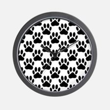 Black Dog Paw Print Pattern Wall Clock