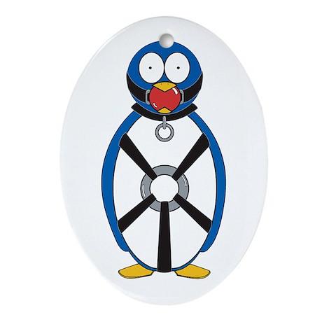 Naughty Penguin Oval Ornament