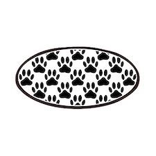 Black Dog Paw Print Pattern Patch