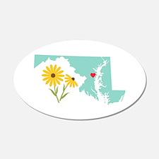 Maryland State Outline Black Eyed Susan Flower Wal