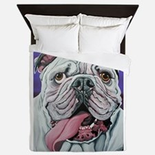 White English Bulldog Queen Duvet