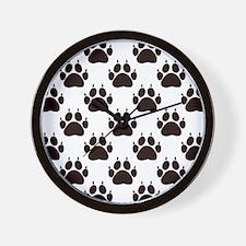 Cat Paw Print Pattern Wall Clock