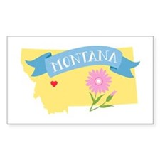 Montana State Outline Bitterroot Flower Decal