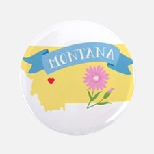 Montana State Outline Bitterroot Flower Button