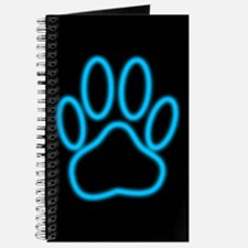 Blue Neon Dog Paw Print Journal