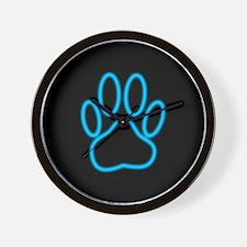 Blue Neon Dog Paw Print Wall Clock
