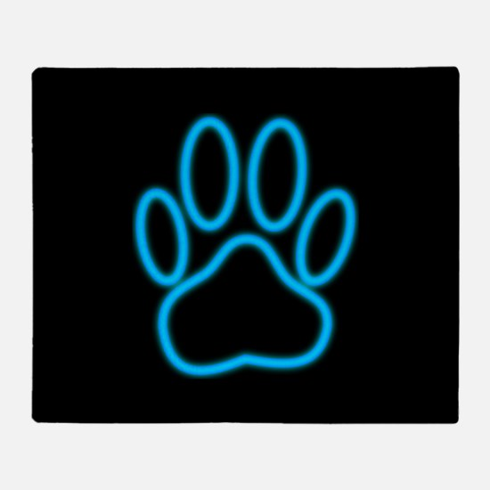 Blue Neon Dog Paw Print Throw Blanket