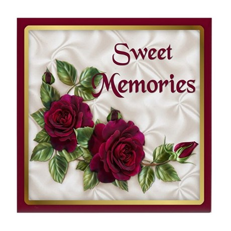Red Velvet Rose Tile Coaster