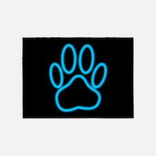 Blue Neon Dog Paw Print 5'x7'Area Rug