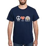 Peace Love Heart Beethoven T-Shirt Navy Blue