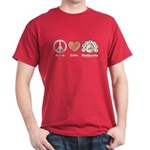 Peace Love Heart Beethoven T-Shirt Cardinal Red