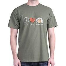 Peace Love Heart Beethoven T-Shirt Military Green