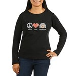 Peace Love Beethoven Long Sleeve Brown T-Shirt