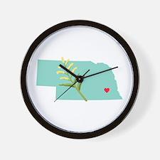 Nebraska State Outline Goldenrod Flower Wall Clock