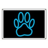 Neon blue paw print Banners
