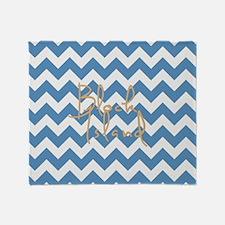 Blue Block Island Chevron Stripes Throw Blanket