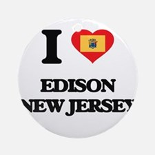 I love Edison New Jersey Ornament (Round)