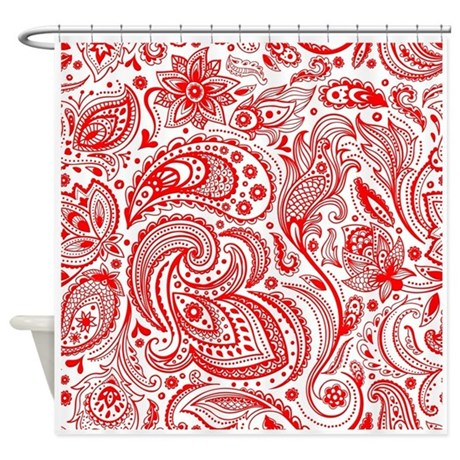 Red And White Vintage Floral Paisle Shower Curtain By