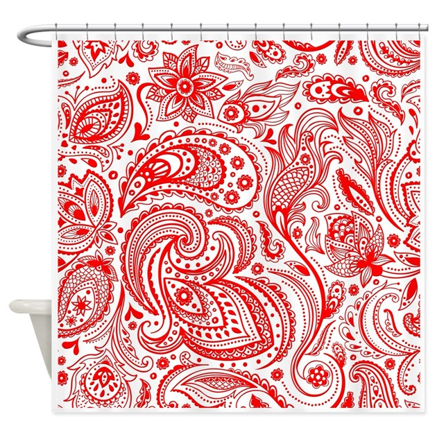 Red And White Vintage Floral Paisle Shower Curtain By Admin Cp63016328