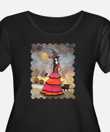 A Halloween Stroll Witch and Bla Plus Size T-Shirt