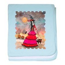 A Halloween Stroll Witch and Black Ca baby blanket