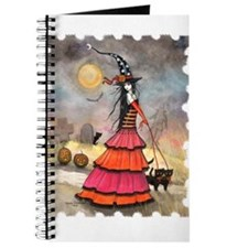 A Halloween Stroll Witch and Black Cats Fa Journal