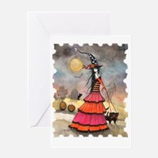 A Halloween Stroll Witch and Black Greeting Cards