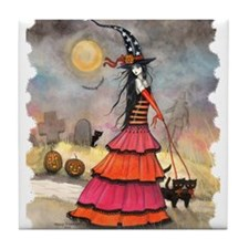A Halloween Stroll Witch and Black Ca Tile Coaster