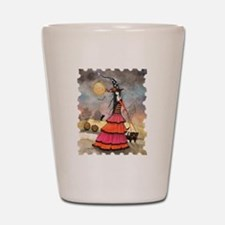 A Halloween Stroll Witch and Black Cats Shot Glass