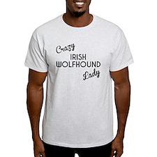 Crazy Irish Wolfhound Lady T-Shirt