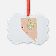 Nevada State Outline Sagebrush Flower Ornament
