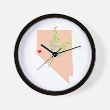 Nevada State Outline Sagebrush Flower Wall Clock