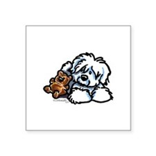 "Cute Coton de tulear art Square Sticker 3"" x 3"""