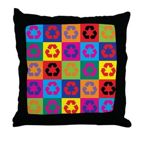 Recycle Or Throw Away Pillows : Pop Art Recycling Throw Pillow by symbolgear